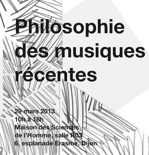 Philosophie des musiques récentes - Dijon